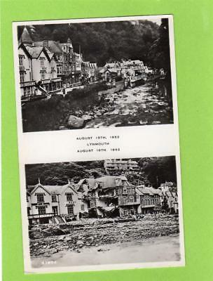 Lynmouth (B) before & after Flood 1952 unused RP pc Harvey Barton Ref C897