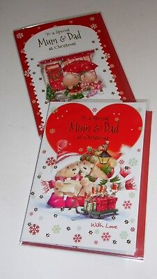 "MUM & DAD CHRISTMAS CARDS x12, just 27p! FOILED, 5"" X 7"" (B704"