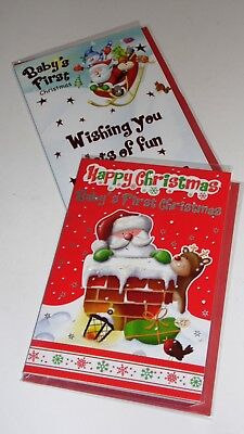 """BABY'S FIRST CHRISTMAS CARDS x12, just 27p! FOILED, 5"""" X 7"""" (B715"""