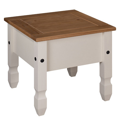 Painted Lamp End Side Table No Draw - Cream / Pine Wood Mercers Home Furniture
