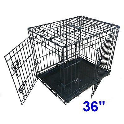 Dog Puppy Cage Folding 2 Door Crate with Non-Chew Metal Tray Large Transport Car