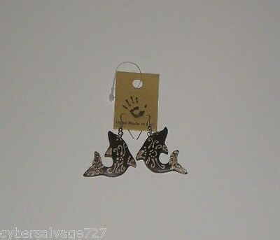 Dolphin Earrings Wood with Stainless Steel Hoops Brown n Gold Color Hand Crafted