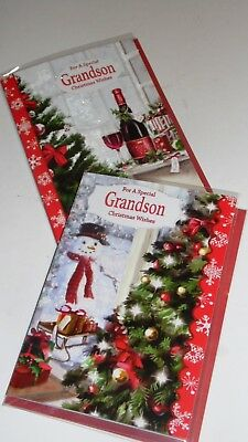 "GRANDSON CHRISTMAS CARDS x12, just 27p! FOILED, 5"" X 7"" (B618"