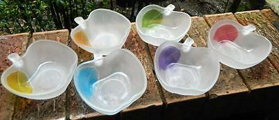 VINTAGE set of 6 1970s Retro SWEET APPLE Colour Glass Bowl Set