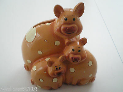 Piggy Pig Coin Bank Ceramic Mother Pig & Baby Tirelire Great condition  UNIQUE