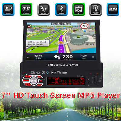 """7"""" HD Car Stereo MP5 MP3 Player Flip Up Touch GPS Navigation Map AM/FM Radio UK"""