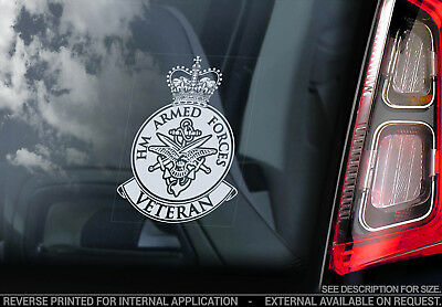 Armed Forces Veteran - Car Window Sticker -Army Military decal crest badge logo