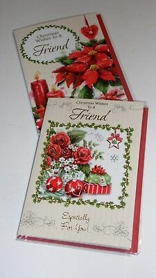 "FRIEND CHRISTMAS CARDS x12, just 27p! FOILED, 5"" X 7"" (X107"
