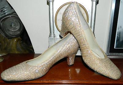 VINTAGE A Beauty Italy 1950s-60s Original Couture Sequinned Glamour Heels Size 6