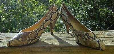 VINTAGE Ruk Bootery 1950s Original Rare Couture Snake Skin Leather Heels 5 B
