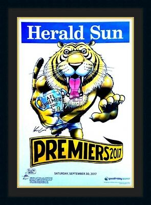 2017 Richmond Tigers Premiers Official Mark Knight Poster Black Framed.