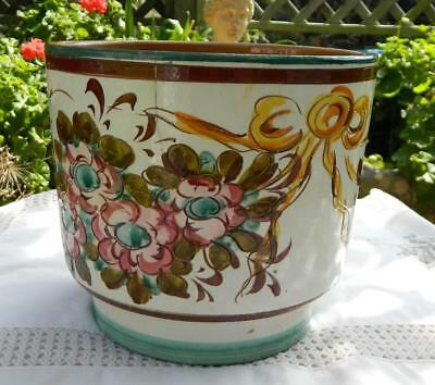 VINTAGE Hand Painted Terricotta Planter Pot  Holder Signed by Artist