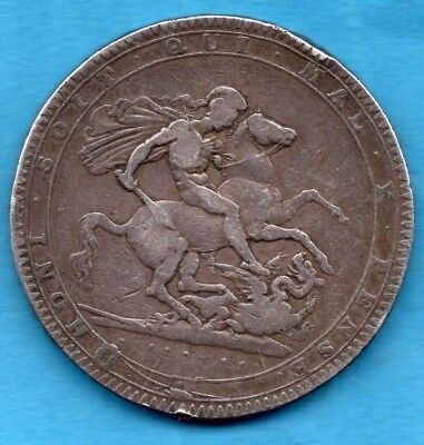 1819 Crown Silver Coin. King George Iii.   Five Shillings.  Lix Edge 5/-