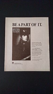 Janet Jackson,  Be A Part Of It (1989)   Rare Original Print Promo Poster Ad