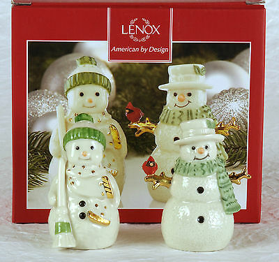 LENOX AMERICAN BY DESIGN SALT AND PEPPER SHAKERS snow couple and cardinal