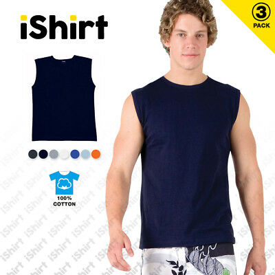 3PCx MENS MUSCLE TEES T-SHIRTS 100% COTTON SINGLET REGULAR FIT SPORTY ACTIVEWEAR