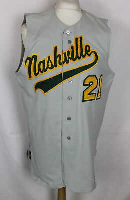 "#21 Nashville Sounds Sleeveless Baseball Jersey Shirt Mens 42"" Southland Rare"