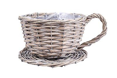 Tea Cup Shaped Wicker Flower Christmas Gift Hampers Pot Home Decoration Basket