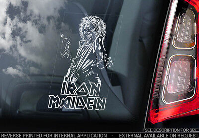 Iron Maiden 'Killer Eddie'- Car Window Sticker - Trooper Powerslave Head - v04