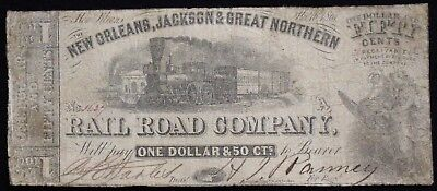1861 New Orleans Jackson & Great Northern $1.50 Obsolete Tough Note!!