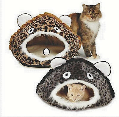 Meow Town King of the Jungle Cat Cave Igloo Leopard Hideaway Covered Bed Tunnel
