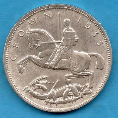 1935 George V Silver Crown Coin. 5/.  Art Deco Influence. Nice Condition.