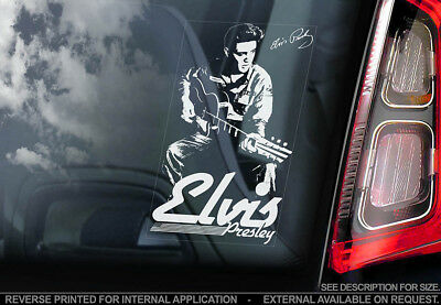 Elvis Presley - Car Window Sticker - The King Rock & Roll Music Sign Decal - V01