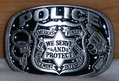 Police Belt Buckle America's Finest We Serve And Protect Buckle Bakery #1654