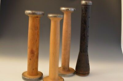 Vintage Wooden Industrial Quill, Bobbin, Spool,Thread Yarn Textile Lot of 4