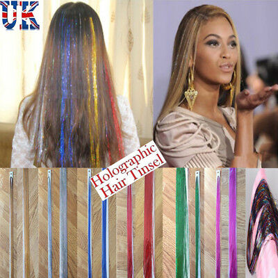"200 x Strands Holographic Sparkle Hair Tinsel / Extensions / Dazzles - 47"" Long."