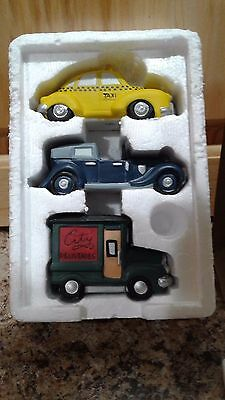 "DEPT 56 Heritage Village Collection ~ Set of 3 ""Automobiles"" #5964-1"