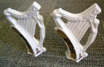 Pair of Irish Porcelain Ornamental Harps CRE Handmade in Galway Celtic Gaelic