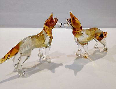 Chinese Crested figurines dog blown glass art Russian from Souvenirs