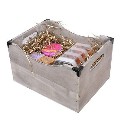 Metal Corners Vintage Wooden Crate Home Storage Shelf Box Christmas Gift Hamper