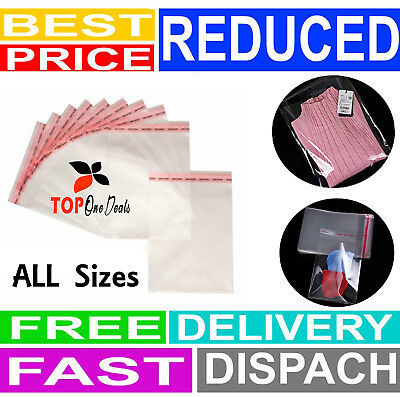 Packaging Clear Cellophane Cello Bags Display Garment Self Adhesive Peel & Seal