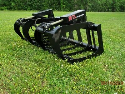 """New HD 66"""" Skid Steer Root Grapple Bucket Twin Cylinder - Bobcat - Universal fit"""