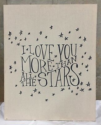 NEW Pottery Barn Kids Linen Canvas I Love You More Than All The Stars Wall Art