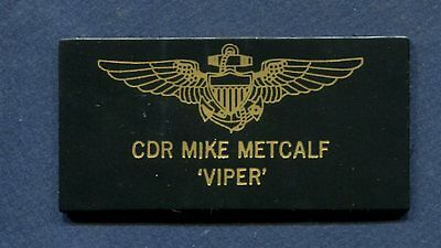 MIKE VIPER METCALF TOP GUN MOVIE Costume NAVY Squadron Leather Name Tag Patch