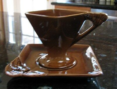 Vernon Kilns Vernonware Bronze Chatelaine Footed Cup&Saucer Sets*Sharon Merrill