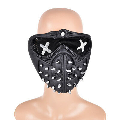 Game Watch Dogs2 Marcus Holloway Wrench Cosplay Mask Prop Gothic Rivet Half Face