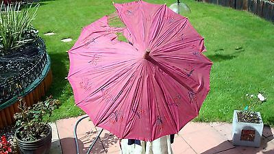 Antique Vintage Parasol. Hand carved wooden handle. Silk embroidered butterflies