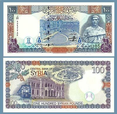 Syria 100 Pounds 1998 Unc Consecutive 5 Pcs Lot P-108