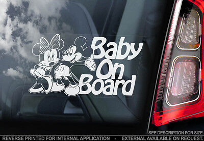 Baby on Board -Car Window Sticker- Mickey Minnie Mouse Decal - PERSONALISE! -V04