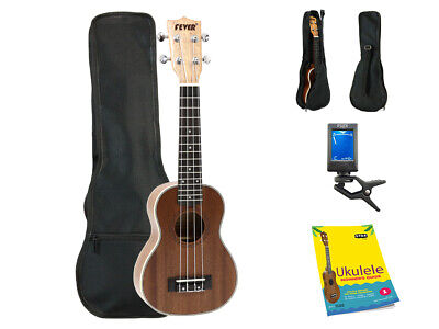 Fever Soprano Ukulele 21 inch with Bag, Tuner and Beginner's Guide, Brown