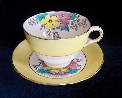 Tuscan China Tea Cup & Saucer - Yellow, Pink & Purple Flowers - 4678H - England