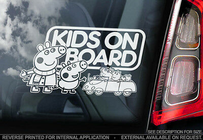 Kids on Board -Car Window Sticker- Peppa Pig Gift Idea Decal Sign - PERSONALISE!
