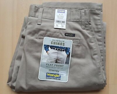 NEW WRANGLER Chinos Flat Front Regular Fit Mid Stone Pants Trousers Size W35/L34