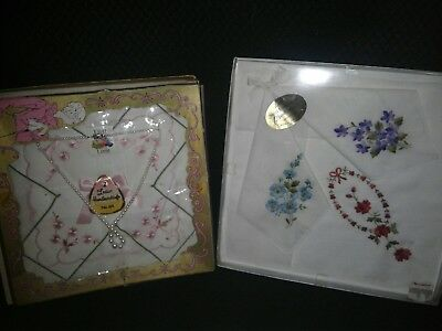 Vintage Fruit of the Loom Ladies Embroidered FULL SIZE HANDKERCHIEFS NIB w Neck
