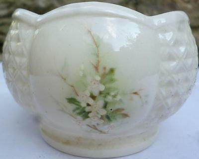 Irish Parian Beleek Basketweave Bowl, 5.5cm tall, Blossom, Donegal, Ireland