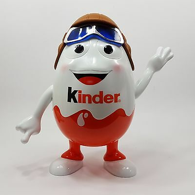 "Kinder Egg Display Figurine 9"" Pilot Aviator Moveable Arms Super Clean Ferrero"